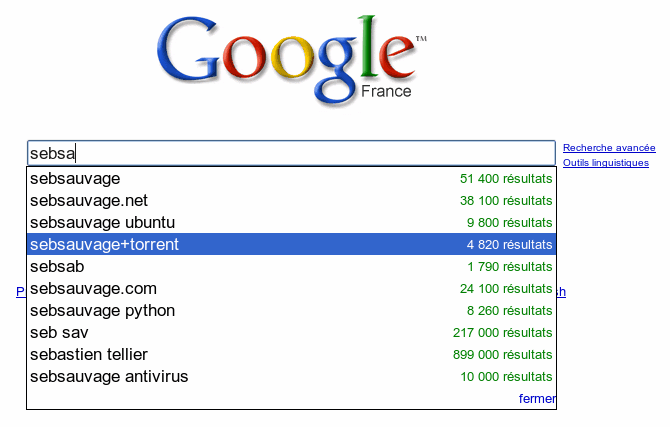 Copie d'écran Google