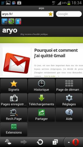 Activer les extensions sur Opera Mobile – Android - Autoblog